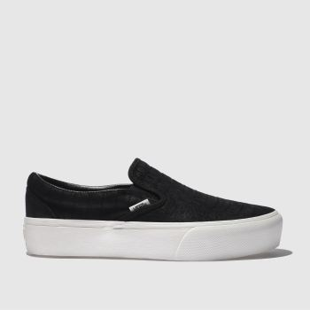 Vans Black & White CLASSIC SLIP-ON PLATFORM CROC Trainers