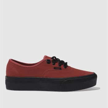 Vans Red Authentic Platform 2.0 Womens Trainers