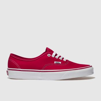 womens red vans authentic canvas trainers | schuh