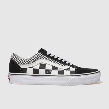 cae9e8b8ae Vans Black   White Old Skool Mix Checker Womens Trainers