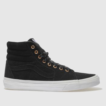 2100206f6a womens black   rose gold vans sk8-hi trainers