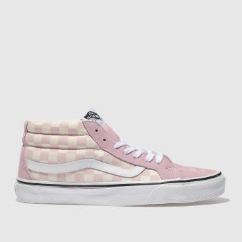 Vans Pink & Cream Sk8-Mid Checkerboard Womens Trainers
