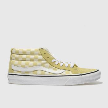 Vans White & Yellow Sk8-Mid Checkerboard Womens Trainers
