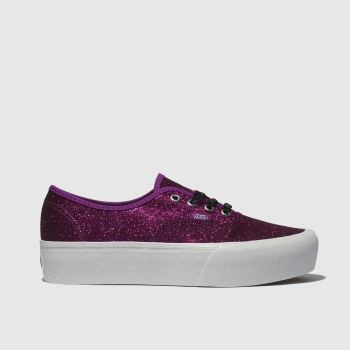 Vans Pink Authentic Glitter Platform Womens Trainers