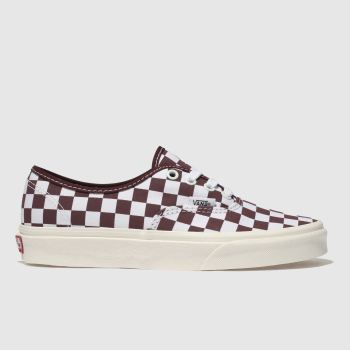 Vans White & Burgundy Authentic Womens Trainers