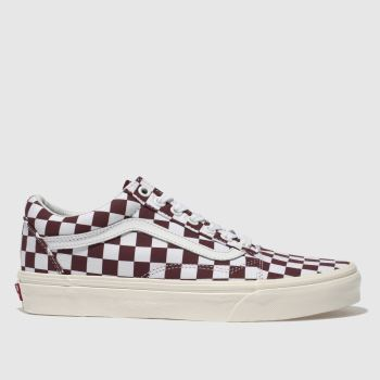 VANS WHITE & BURGUNDY OLD SKOOL CHECKERBOARD TRAINERS