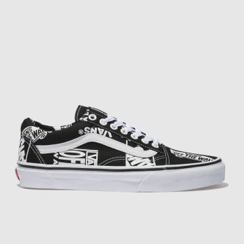 Vans Black & White Old Skool Logo Mix Womens Trainers from Schuh