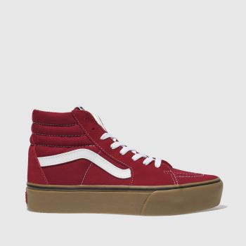 Vans Red Sk8-Hi Platform Gum Womens Trainers