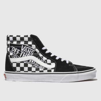 womens black   white vans sk8-hi patch trainers  3906b7db6
