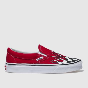 8dae9ce4c2 Vans White   Red Classic Slip-On Checkerboard Womens Trainers