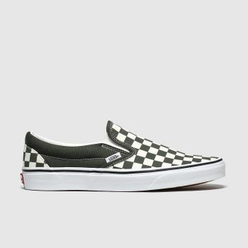 vans white & green classic slip-on checkerboard trainers