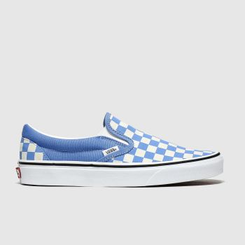 Vans White & Blue Classic Slip-on Checkerboard Womens Trainers