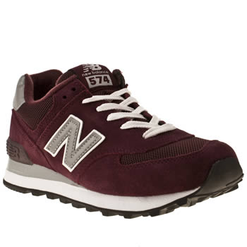 womens burgundy new balance 574 suede   mesh trainers  57609ebff3