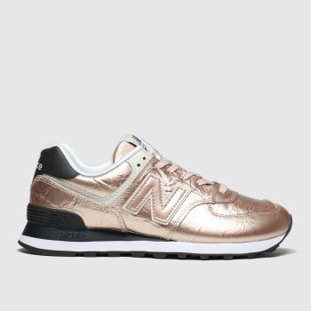 New Balance Gold 574 Metallic c2namevalue::Womens Trainers