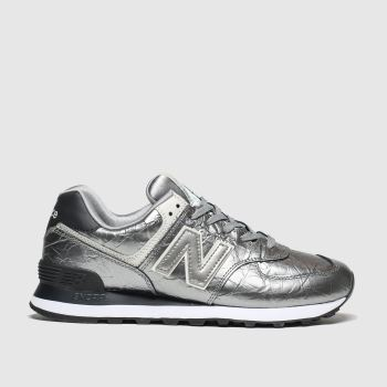 New Balance Silver 574 Metallic Womens Trainers