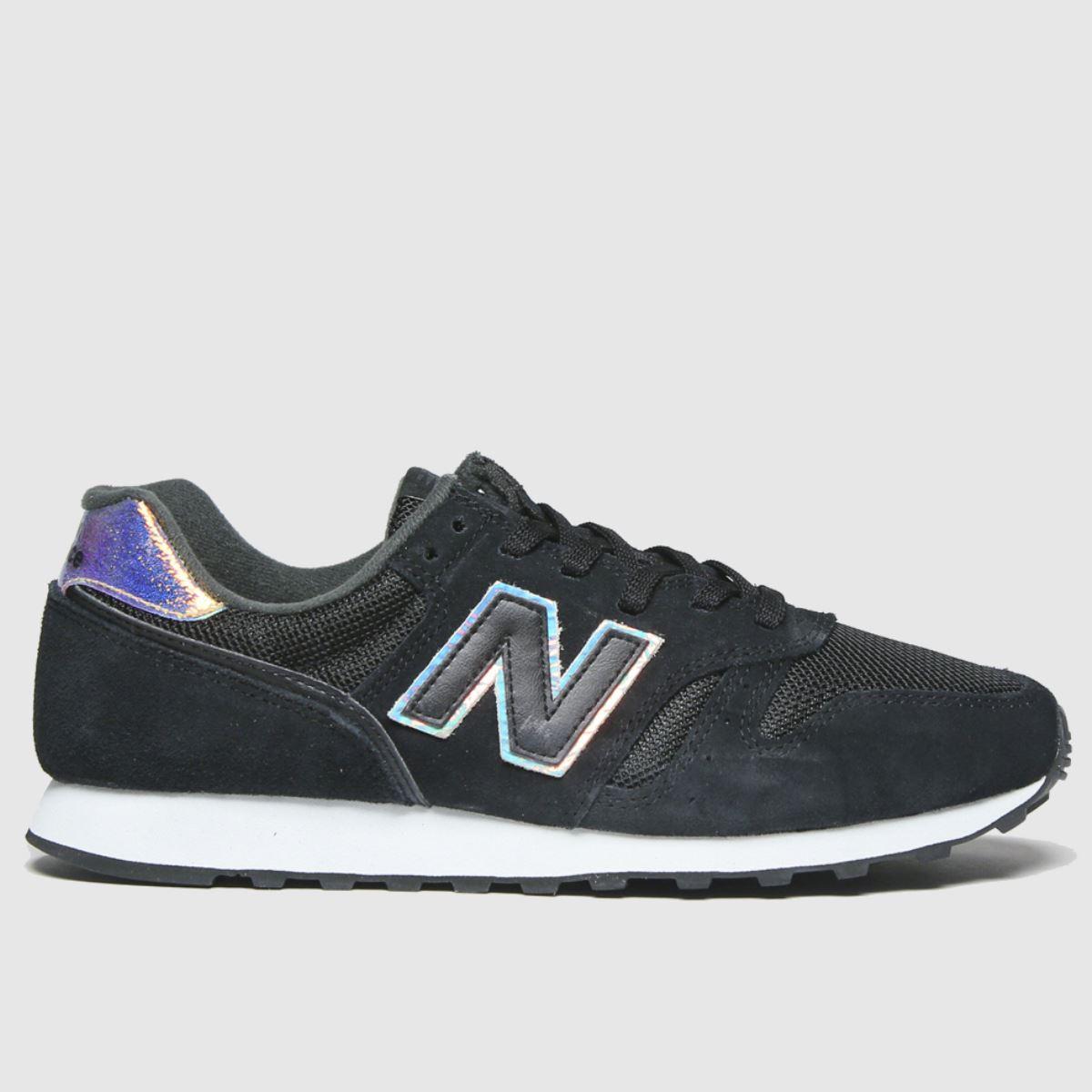New balance black & white 373 iridescent trainers