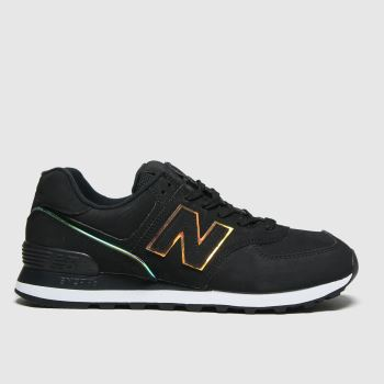 New balance Black & Gold Nb 574 Womens Trainers#