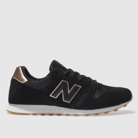 womens black & gold new balance 373 suede & mesh trainers