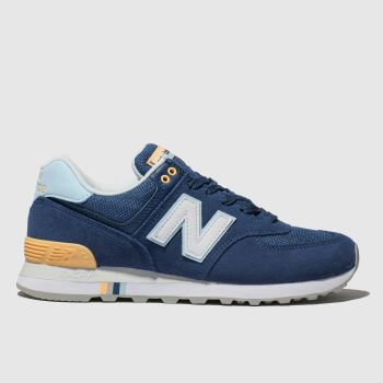 New Balance Navy & White 574 Suede Womens Trainers