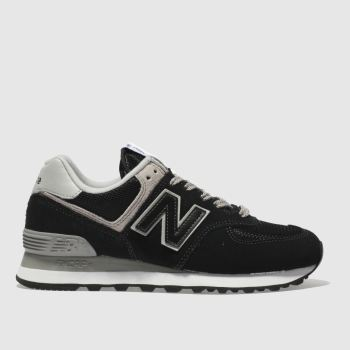 New Balance Black & Grey 574 Suede Womens Trainers