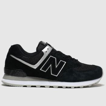 New Balance Black & Silver 574 V2 Womens Trainers
