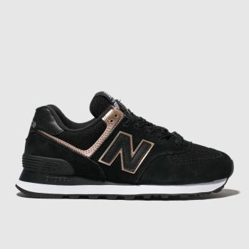 New Balance Black & Gold 574 Suede Womens Trainers