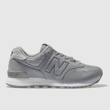NEW BALANCE GREY 574 RAFFIA TRAINERS