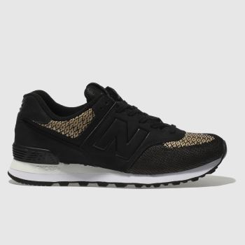 New Balance Black & Gold 574 Rafia Womens Trainers