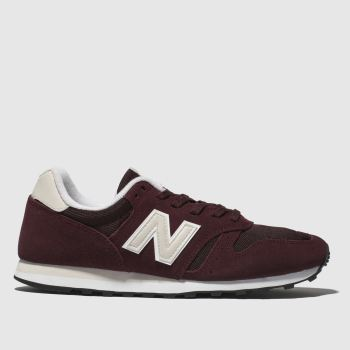 new balance burgundy 373 v1 suede trainers