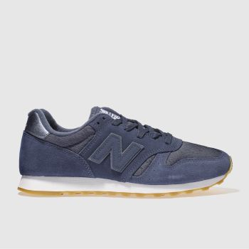 NEW BALANCE NAVY & WHITE 373 SUEDE TRAINERS
