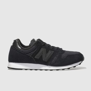 New Balance Black & White 373 Suede Womens Trainers