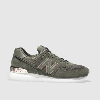 New Balance Khaki 574 V2 Metallic Womens Trainers