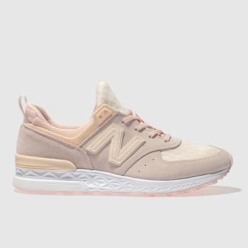 New Balance Pink 574 V1 Suede Womens Trainers