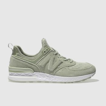 New Balance Green 574 V1 Suede Womens Trainers