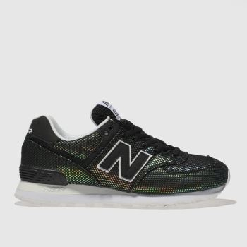 New Balance Black & White 574 V2 Perf Metallic Womens Trainers