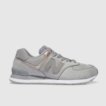 New Balance Grey 574 V2 Metallic Womens Trainers