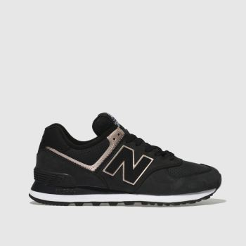 New Balance Black & Gold 574 V2 Metallic Womens Trainers