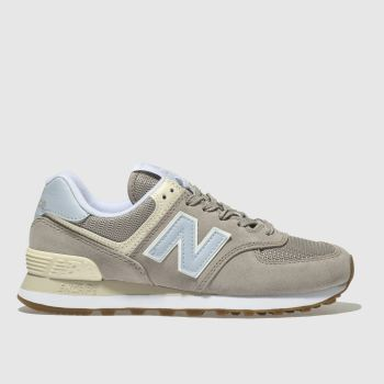 New Balance Light Grey 574 V2 Suede Womens Trainers