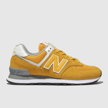 6a37148f04c New Balance Yellow 574 V2 Suede Womens Trainers