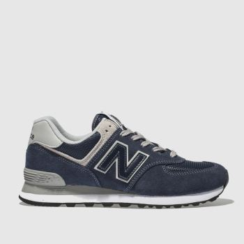 New Balance Navy & Silver 574 V2 Suede Womens Trainers