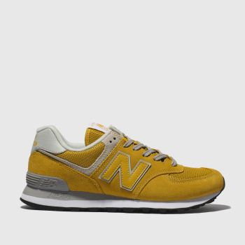 New Balance Yellow 574 V2 Suede Womens Trainers