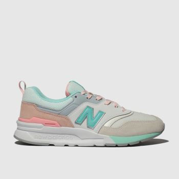 new balance white & pl blue 997 trainers