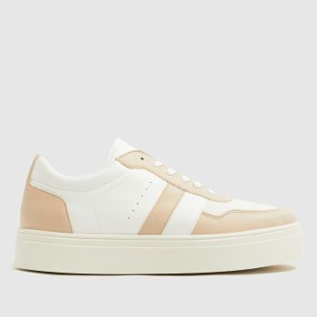 schuh White & Beige Naia Mesh Mix Lace Up Trainer Womens Trainers