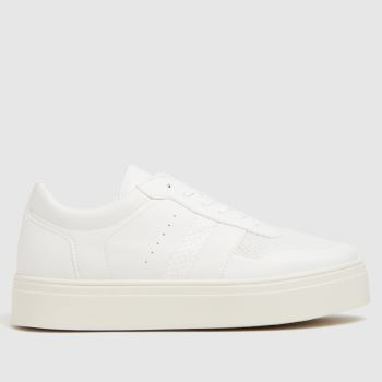 schuh White Naia Mesh Mix Lace Up Trainer Womens Trainers