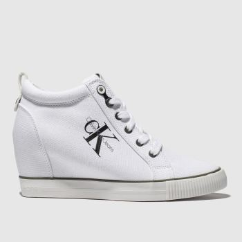 Calvin Klein White Jeans Ritzy Canvas Womens Trainers