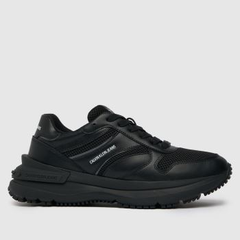 CALVIN KLEIN Black Runner Lace Up Sneaker Womens Trainers