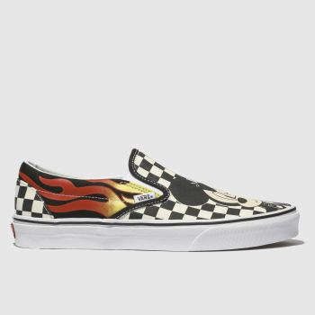 VANS BLACK & WHITE CLASSIC SLIP MICKEY FLAME TRAINERS