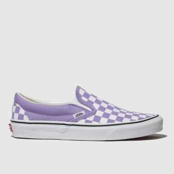 Vans White & Purple Classic Slip Checkerboard Womens Trainers
