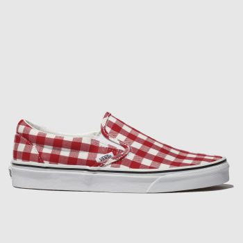 Vans White & Red Classic Slip Gingham Womens Trainers