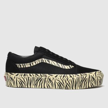 Vans Stone & Black Old Skool Platform Zebra Womens Trainers